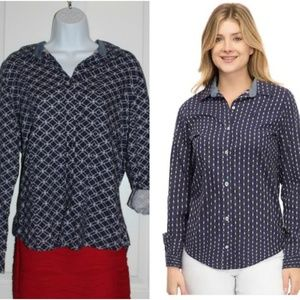 NWT Izod Women's Button Down Blouse Chambray M